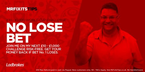 Have a  £10 Risk-Free shot at my £10 – £1,000 World Cup Challenge