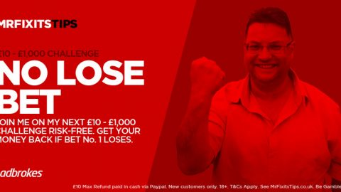 Get a £10 Risk-Free Shot at Bet no.1 of My £10 – £1,000 Challenge