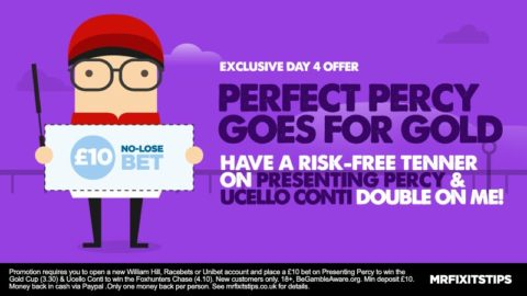 EXCLUSIVE Offer: Get a £10 NO-LOSE Bet on 26/1 Percy & Conti Double