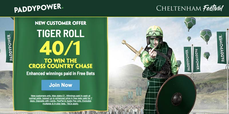 Get 40/1 on Tiger Roll at Paddy Power