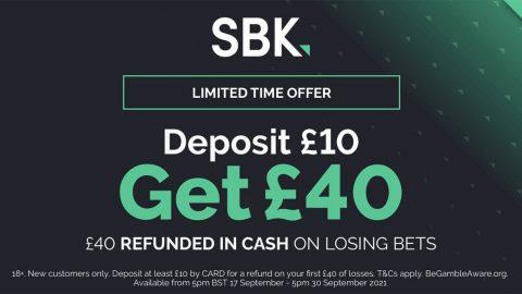 SBK Sign Up Offer: Deposit £10 Get £40 Refunded in Cash on Losing Bets at SBK