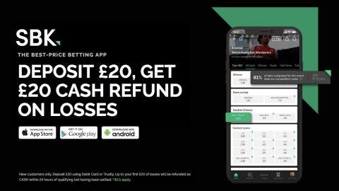 SBK Sign Up Offer: Deposit £20 Get £20 Refunded in Cash on Losing Bets at SBK